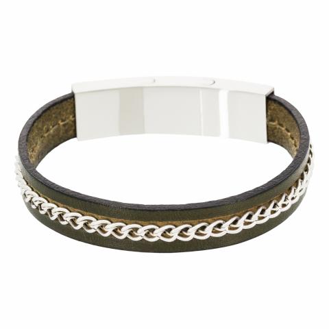 Bracelet en cuir et acier...