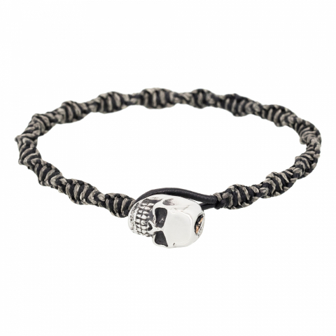 Bracelet en acier et cuir...