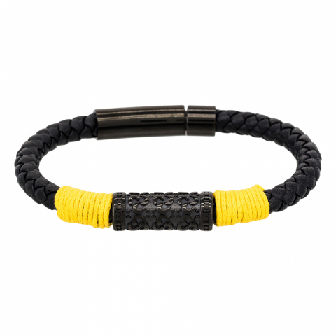 Bracelet en cuir noir et...