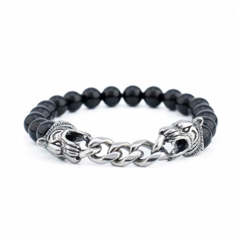 Bracelet à perles noires et...