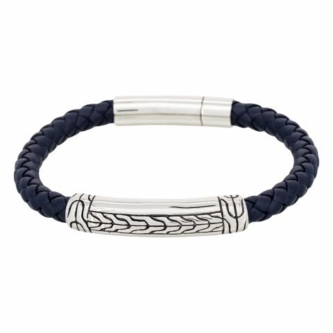 Bracelet en cuir bleu et...